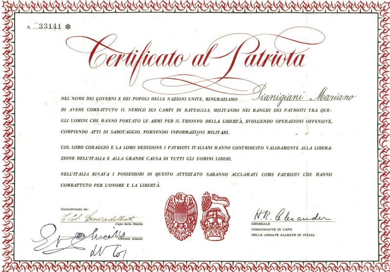 Il-prestigioso-riconoscimento-del-Certificato-al-Patriota-rilasciato-dalle-truppe-alleate-in-Italia.