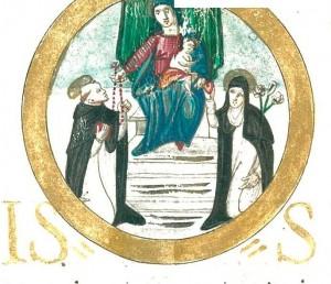 Miniatura raffigurante la Madonna del Rosario