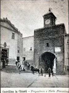 La Pieve del SS. Salvatore di Castellina in Chianti in una foto d'inizio Novecento